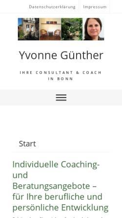 Vorschau der mobilen Webseite www.coaching-bonn.de, Yvonne Günther - Coaching & Beratung
