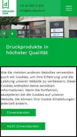 Vorschau der mobilen Webseite drucksuhr.ch, Druckerei AG Suhr