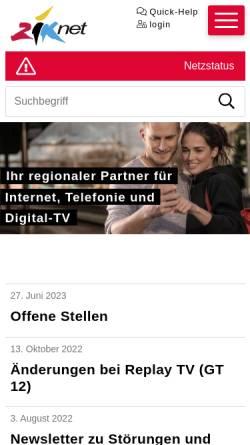 Vorschau der mobilen Webseite www.ziksuhr.ch, Ziknet