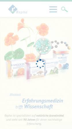 Vorschau der mobilen Webseite www.repha.de, Repha - Biologische Arzneimittel