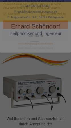 Vorschau der mobilen Webseite schoendorf-therapie.de, Schöndorfstrom-Elektrotherapie Erhard Schöndorf