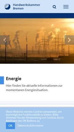Vorschau der mobilen Webseite www.hwk-bremen.de, Handwerkskammer Bremen