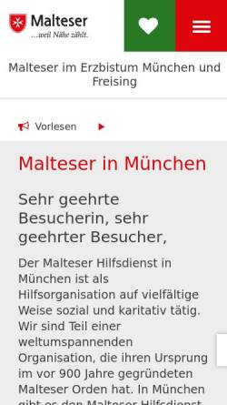 Vorschau der mobilen Webseite www.malteser-muenchen.de, Malteser Hilfsdienst e.V., Stadtgeschäftsstelle München