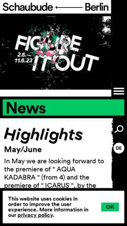 Vorschau der mobilen Webseite www.schaubude-berlin.de, Schaubude