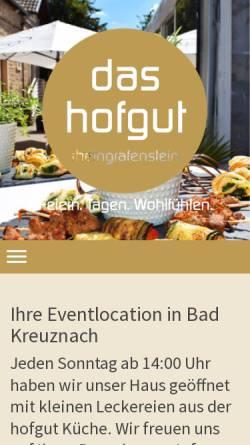 Vorschau der mobilen Webseite www.hofgut-rheingrafenstein.de, Restaurant Hofgut Rheingrafenstein