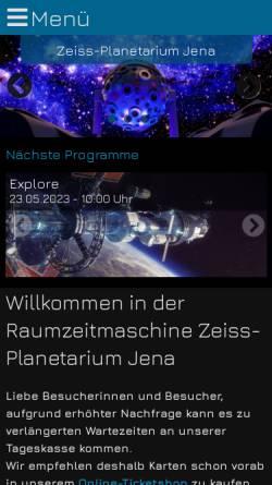 Vorschau der mobilen Webseite www.planetarium-jena.de, Zeiss Planetarium Jena