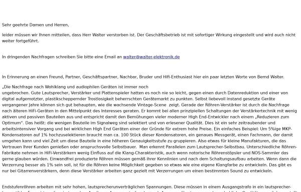 Walter Elektronik In Mannheim Elektronik Musikentertainment