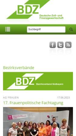 Vorschau der mobilen Webseite www.bdz-suedbayern.de, Bund der deutschen Zollbeamten [BDZ] Gewerkschaft Zoll und Finanzen, Bezirksverband Südbayern e.V.