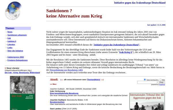 Vorschau von www.embargos.de, Initiative gegen Embargos - Sanktionen - keine Alternative zum Krieg