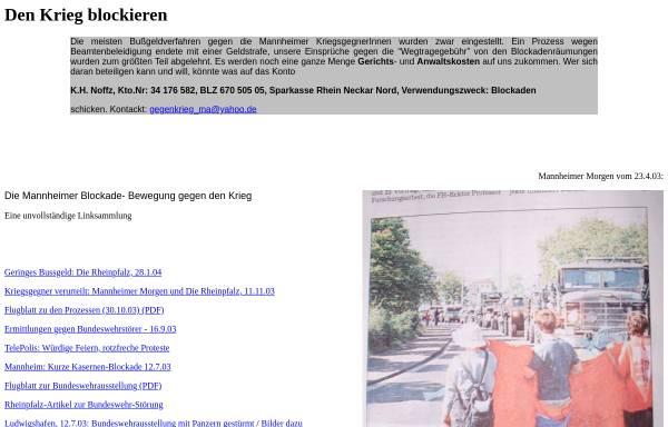 Vorschau von www.umwaelzung.info, Mannheimer Aktionen: Den Krieg blockieren