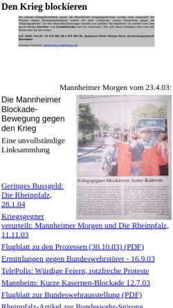 Vorschau der mobilen Webseite www.umwaelzung.info, Mannheimer Aktionen: Den Krieg blockieren
