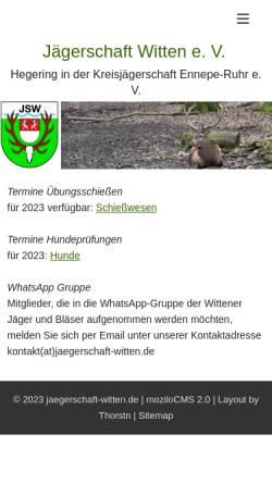 Vorschau der mobilen Webseite www.xn--jgerschaft-witten-qqb.de, Vereinsseite der Jägerschaft Witten e.V.