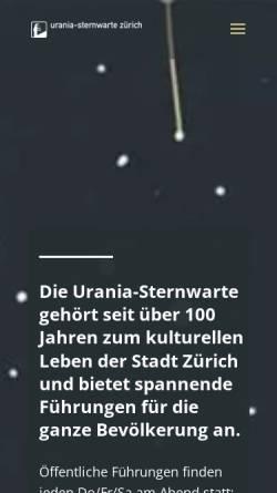 Vorschau der mobilen Webseite www.urania-sternwarte.ch, Urania-Sternwarte Zürich