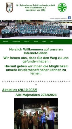 Vorschau der mobilen Webseite www.sebastianus-stammheim.de, Sankt Sebastianus-Schützenbruderschaft Köln-Stammheim gegr. vor 1594 e.V.