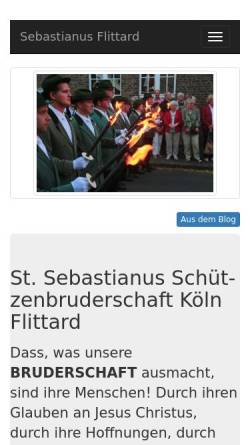 Vorschau der mobilen Webseite www.sebastianus-flittard.de, St. Sebastianus Schützenbruderschaft Köln Flittard