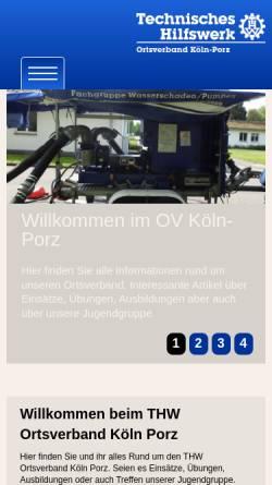 Vorschau der mobilen Webseite www.thw-koeln-porz.de, THW Ortsverband Köln-Porz