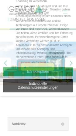 Vorschau der mobilen Webseite gewobau.de, Gewobau Wohnungsgenossenschaft Essen eG