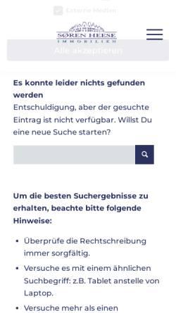 Vorschau der mobilen Webseite www.soeren-heese.de, Sören Heese Immobilien GbR