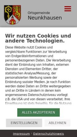 Vorschau der mobilen Webseite www.neunkhausen.de, Ortsgemeinde Neunkhausen