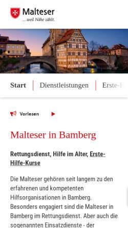 Vorschau der mobilen Webseite www.malteser-bamberg.de, Diözesangeschäftsstelle Bamberg