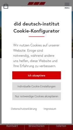 Vorschau der mobilen Webseite www.did.de, did deutsch-institut Frankfurt