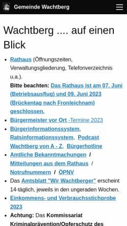 Vorschau der mobilen Webseite www.wachtberg.de, Gemeinde Wachtberg