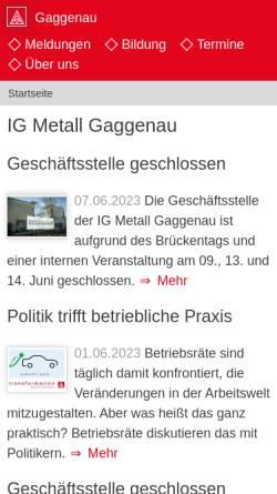Vorschau der mobilen Webseite www.gaggenau.igm.de, IG Metall Gaggenau