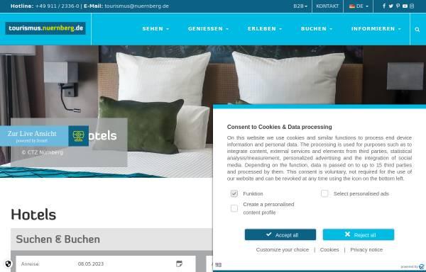 Vorschau von www.hotel.nuernberg.de, Hoteldatenbank des Großraums Nürnberg