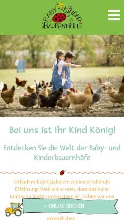 Vorschau der mobilen Webseite www.babybauernhoefe.de, Kinderbauernhöfe in Ostbayern