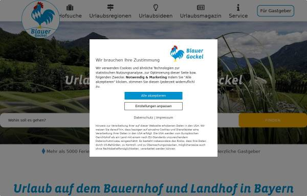 Vorschau von www.bauernhof-urlaub.com, Landesverband Urlaub auf dem Bauernhof in Bayern