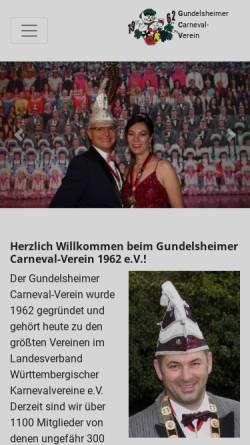 Vorschau der mobilen Webseite www.gcv1962.de, Gundelsheimer Carneval Verein 1962 e.V.