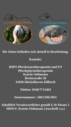 Vorschau der mobilen Webseite www.hand-aufs-pferd.de, Katrin Oidtmann