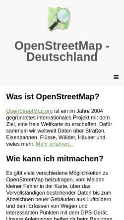 Vorschau der mobilen Webseite www.openstreetmap.de, OpenStreetMap