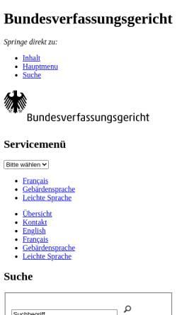 Vorschau der mobilen Webseite www.bverfg.de, Bundesverfassungsgericht zur Bundestagsauflösung