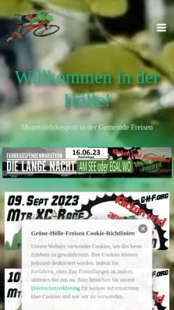 Vorschau der mobilen Webseite www.xn--grne-hlle-freisen-4zb3i.de, Grüne Hölle - Mountainbike-Cross-Country-Rennen und Country-Tourenfahrten