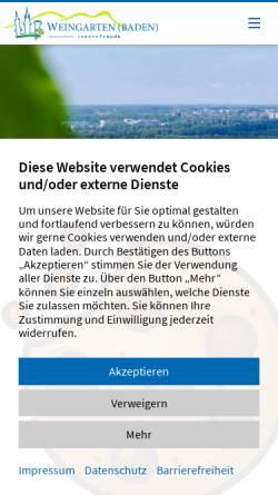 Vorschau der mobilen Webseite www.weingarten-baden.de, Gemeinde Weingarten-Baden
