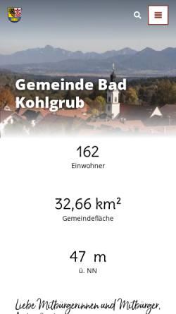 Vorschau der mobilen Webseite www.bad-kohlgrub.de, Gemeinde Bad Kohlgrub