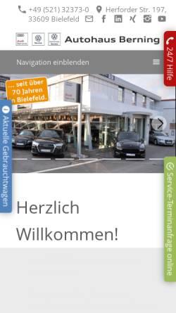 Vorschau der mobilen Webseite www.autohaus-berning.de, Autohaus Berning KG