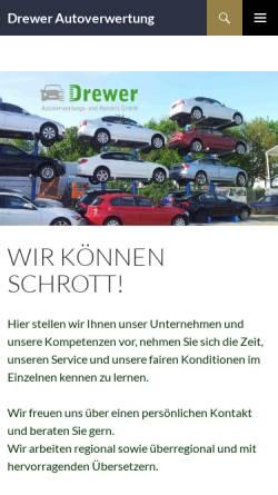 Vorschau der mobilen Webseite www.drewer-autoverwertung.de, Drewer Autoverwertung- u. Handelsgesellschaft mbH