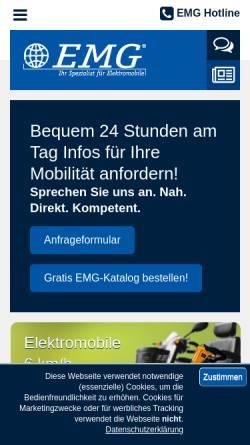 Vorschau der mobilen Webseite www.emg-elektromobile.de, EMG Elektromobile GmbH & Co. KG