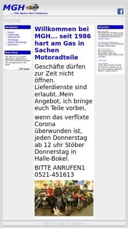 Vorschau der mobilen Webseite www.mgh-shop.de, MGH - Motorradteile GmbH
