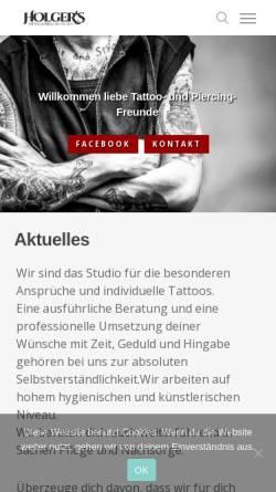 Vorschau der mobilen Webseite www.holgers-studio.de, Holger's Tattoo und Piercing-Studio, Holger Byl