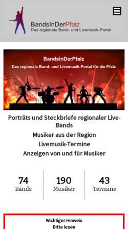 Vorschau der mobilen Webseite www.bandsinderpfalz.de, Bands in der Pfalz