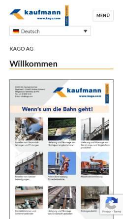 Vorschau der mobilen Webseite www.kago.com, A. Kaufmann AG
