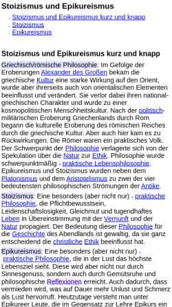 Vorschau der mobilen Webseite www.philolex.de, Stoiker und Epikureer