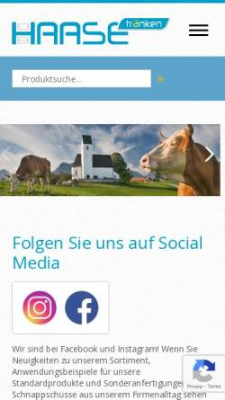 Vorschau der mobilen Webseite www.haase-traenken.de, Oswin Haase Nachf.