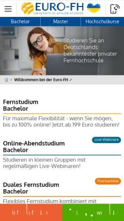 Vorschau der mobilen Webseite www.euro-fh.de, Europäische Fernhochschule Hamburg
