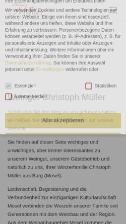 Vorschau der mobilen Webseite www.muellerwein.de, Weingut Müller
