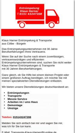 Vorschau der mobilen Webseite www.umzug-harner.de, Spedition Klaus Harner