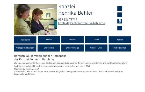 Vorschau von www.rechtsanwaeltin-behler.de, Henrika Behler, Rechtsanwältin, Garching bei München